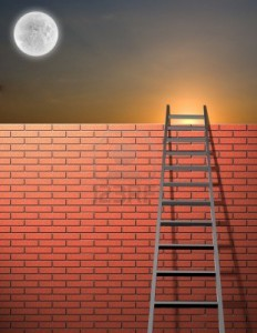 6650887-ladder-leans-on-wall-with-sky-and-bright-moon